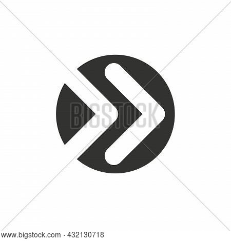 Black Vector Chevron Arrows Pointing Right In Circle, Three Arrows In Row. Road Sign For Turn. Stock