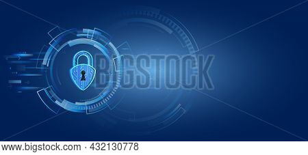 Global Antivirus Secure System. Abstract Blue Background With Various Technology Elements. Futuristi