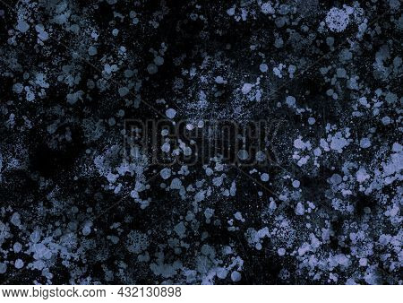 Lilac Black Blue Vintage Background With Spots, Splashes And Dots. Watercolor Texture With Blur And