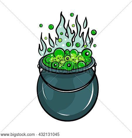 Vector Cartoon Illustration Of A Witchs Cauldron Halloween Concept