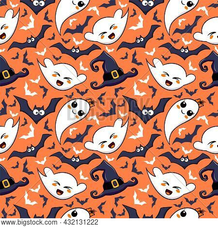 Halloween Orange Festive Seamless Pattern. Vector Endless Background With Cute Ghost And Bats