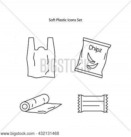 Plastic Icons Set Isolated On White Background. Plastic Icon Thin Line Outline Linear Plastic Symbol