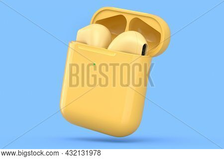 Wireless Bluetooth Headphones In Yellow Case Isolated On Blue Background. 3d Rendering Of Accessorie
