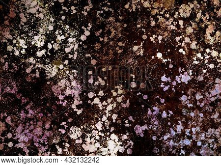 Brown Lilac Pink Vintage Background With Spots, Splashes And Dots. Watercolor Texture With Blur And