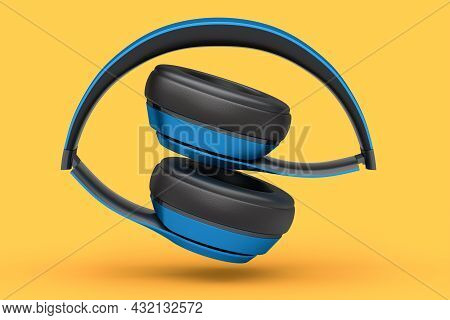 Professional Gaming Headphones Isolated On Orange Background. 3d Rendering Of Over-ear Headphones An