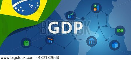 Brazil Gdp Gross Domestic Product Of Brazilian Flag And Map Illustration Country Productivity