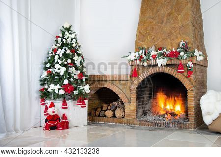 Light House Christmas Interior With Marble Floors, With Fireplace Decorated For Christmas And Christ