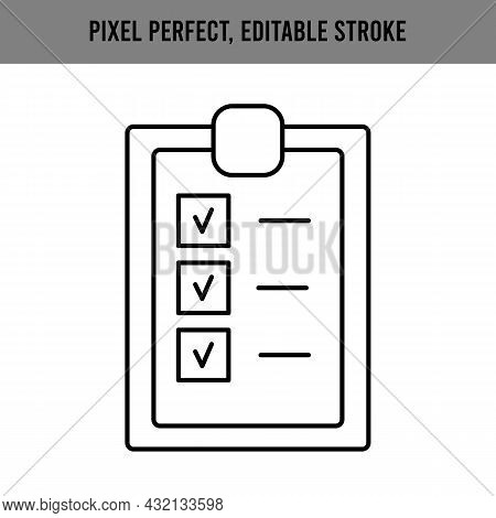 Icon Sheet Paper Approval For Web Design. Check Mark Icon Vector. Outline Symbol. List Of Approved,