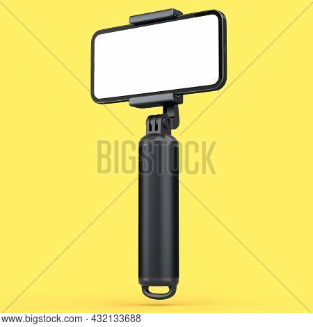 Realistic Smartphone With Blank White Screen And Selfie Stick Isolated On Yellow Background. 3d Rend