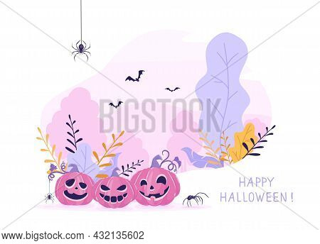 Smiling Pumpkins On Pink Halloween Background. Banner With Jack O' Lanterns, Bats And Spiders. Illus