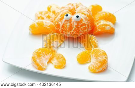Fruit Crab, A Snack Made Of Fresh Parts Of Tangerines Served In The Shape Of Crab