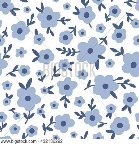 Ditsy Floral Vector Seamless Pattern. Small Blue Forget-me-not Flowers On White Background. Tiny Mea