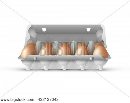 Open Box Of Eggs Filled With Brown Eggs On White Background, Ten Eggs Are Stored In A Gray Cardboard