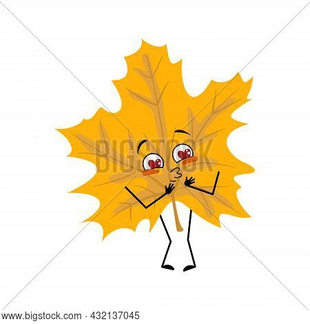 Maple Leaf Character Falls In Love With Eyes Hearts, Kiss Face, Arms And Legs. Cheerful Forest Plant