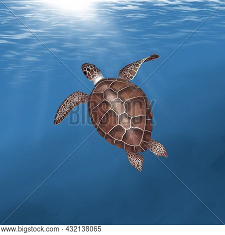 Watercolor Sea Turtle On. Against The Background Of The Ocean. Illustration Of A Sea Turtle