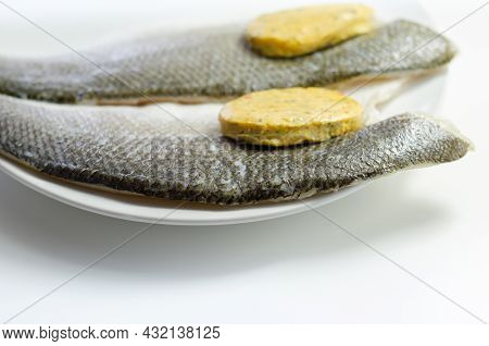 Prepared For Fry Boneless Sea Bass Fillets With A Lemon And Pepper Butter, Food High In Protein And