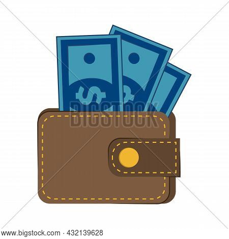 Purse With Money Isolated On A White Background. Wallet With Cash Dollars Banknotes Flat Design. Cas