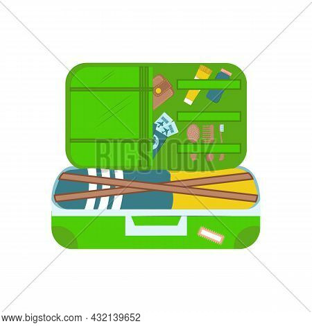Open Travel Suitcase With Things Isolated On White Background. A Set Of Things For Travel. Vector Fl