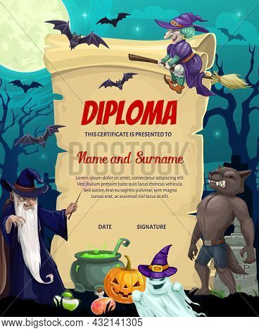 Kids Diploma Or Achievement Certificate With Vector Halloween Monsters. Education Award Scroll Of Sc