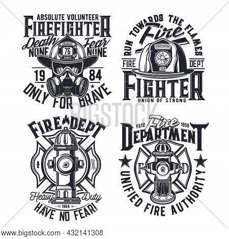 Tshirt Print With Firefighters Equipment Hydrant, Gas Mask, Glasses And Helmet Vector Emblems For Ap