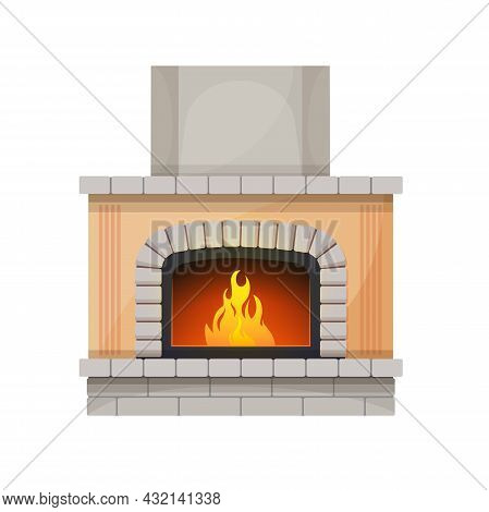Fireplace Or Hearth, Fire Place With Chimney And Burning Flames Of Wood, Vector. Modern Or Classic O