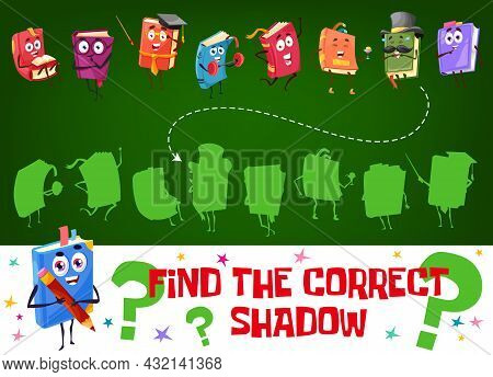 Find A Correct Shadow Of Cartoon Book Character. Kids Game Worksheet, Logical Puzzle Or Riddles Book