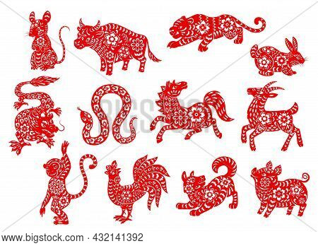 Chinese Zodiac Horoscope Animals, Red Papercut Characters, Vector. China New Year And Lunar Calendar