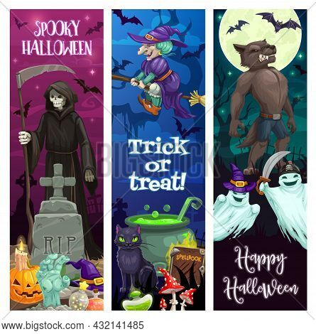 Happy Halloween Banners With Spooky Monsters. Death Grim Reaper With Scythe On Cemetery, Witch On Br