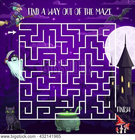 Halloween Night Labyrinth Maze Kids Game With Spooky Characters. Vector Puzzle, Children Task, Find