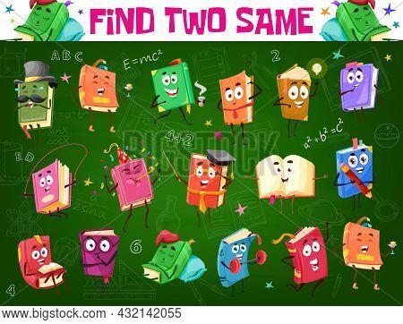 Find Two Same Textbook Or Bestseller Book. Kids Game Worksheet, Logical Riddle Or Child Educational