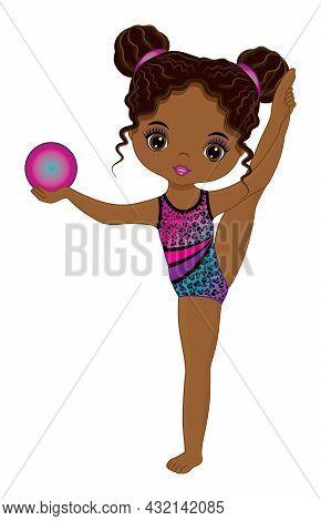 Cute Graceful African American Girl Performing Rhythmic Gymnastics. Black Gymnast Wearing Colourful