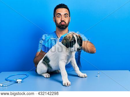 Handsome hispanic veterinary man with beard putting vaccine to puppy dog puffing cheeks with funny face. mouth inflated with air, catching air.