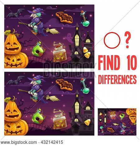 Find Differences Kids Halloween Game Or Riddle. Child Educational Activity, Educational Exercise Wit