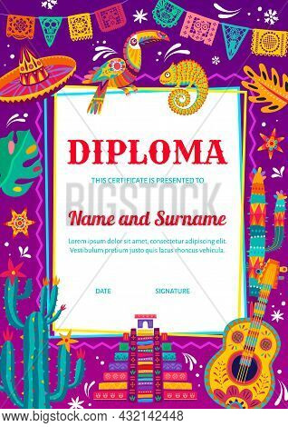 Kids Diploma Certificate With Mexican Sombrero, Chameleon And Toucan, Guitar, Cactuses. Children Edu