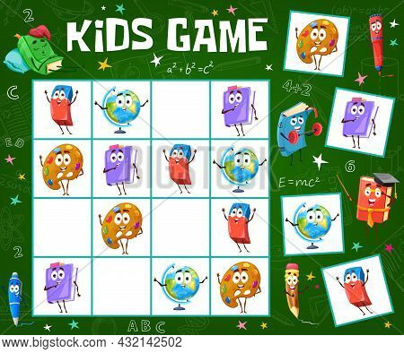 Kids Sudoku Game Worksheet With Cartoon School Stationery And Books. Children Logical Riddle Or Rebu