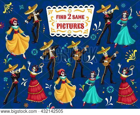 Find Two Same Dia De Los Muertos Characters Vector Game. Riddle With Cartoon Mariachi Musicians And