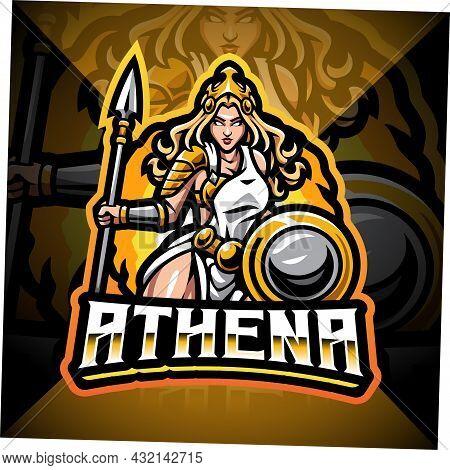 Athena Esport Mascot Logo Design With Text