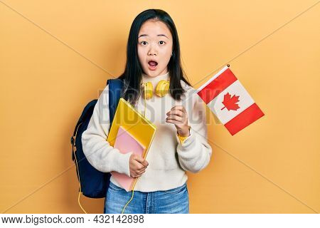 Young chinese girl exchange student holding canada flag afraid and shocked with surprise and amazed expression, fear and excited face.