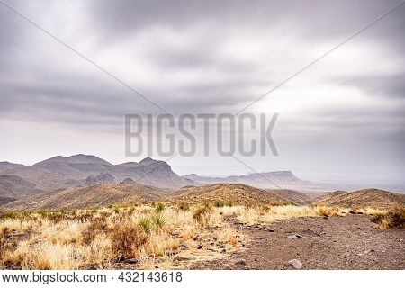 Looking Out From Sotol Vista Overlook On Overcast Day In Big Bend National Park