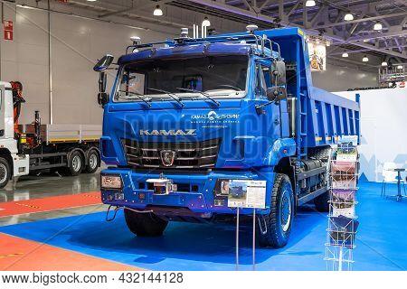 Heavy-duty Dump Truck With Self-driving Function Kamaz-65119. Heavy 4-axle Truck At The Bauma Ctt Co