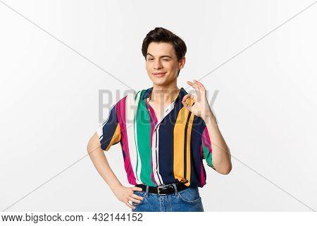Confident Young Androgynous Man Showing Okay Sign, Approve And Agree, Smiling And Winking At Camera,