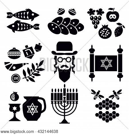 Religion Israel  Icons Set In  Flat Cartoon Style  For  Jewish Holiday. Awesome Collection  Elements