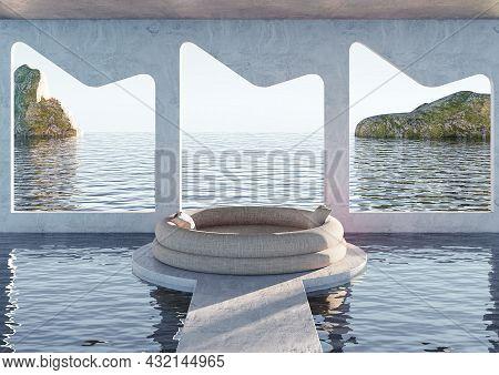 Minimalist Modern Living Room With Ocean View Sofa. Sea View Resort Pool. 3d Rendering