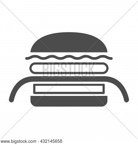 Burger Kuro Ninja Solid Icon, Asian Food Concept, Black Ninja Vector Sign On White Background, Glyph