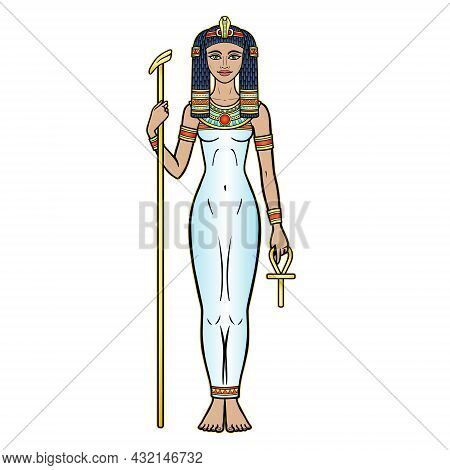Animation Color Portrait Ancient Egyptian Goddess  Holds Symbols Of Power: Staff And Cross. Vector I