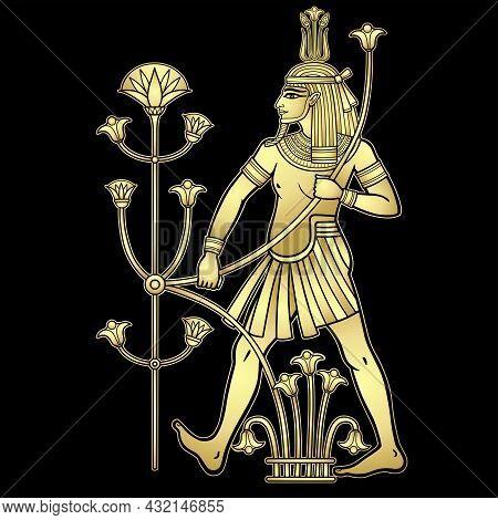 Animation Portrait  Egyptian God Hapi Holding A Reed Flower. God Of Fertility, Of Water, Of  Nile Ri