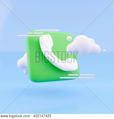 3d Render Cloud And Call Phone On Blue Background. Illustration Call Center Icon And Cloud 3d Render