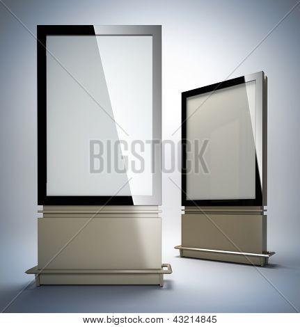 Blank vertical billboards. 3D illustration of blank template layout empty metal billboards with black frame.