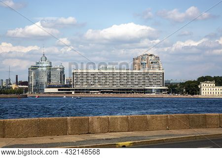 St. Petersburg, Russia - July 09, 2021: View On The Building Of The Hotel