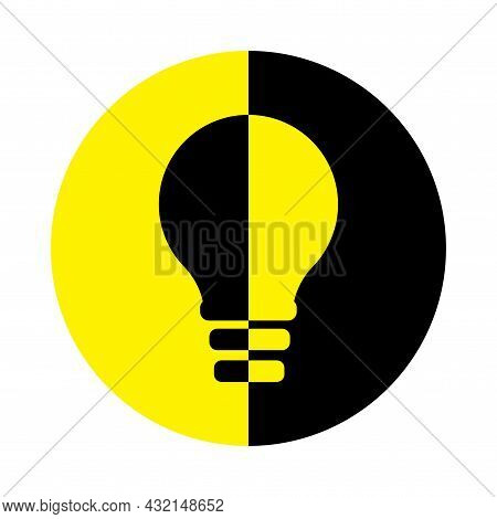 Black And Yellow Creative Lightbulb Icon. Creative Idea Symbol. Teamwork Concept. Vector Illustratio